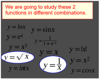 Domain of the Square Root & Division Functions - 4 Assignments on Power Point