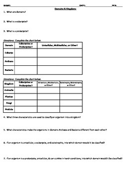 Domains & Kingdoms Classification Worksheet | TpT