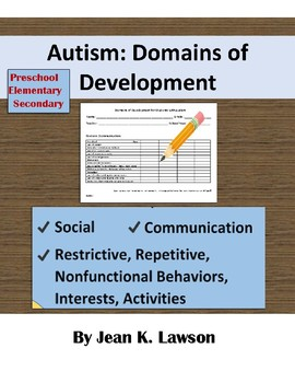 Domains of Development for Students with Autism--For Planning--IEP Goals