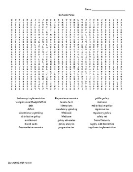 Domestic Policy Vocabulary Word Search for American Government