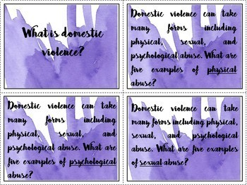 Domestic Violence Bulletin Board Display and Task Cards