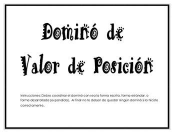 Dominó de Valor de Posición (Place Value)