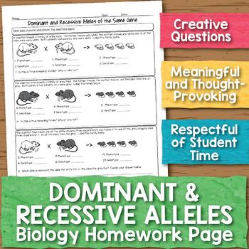 Dominant and Recessive Alleles Biology Homework Worksheet