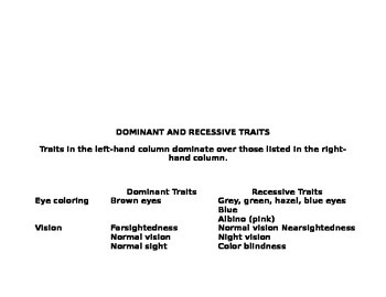 Dominant vs. Recessive traits organizer
