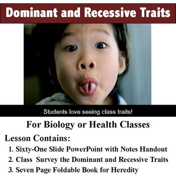 Hereditary Traits - Dominant and Recessive - Class Survey, Notes, and Foldable