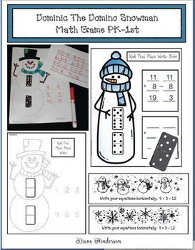 "Snowman Activities: ""Dominic The Domino Snowman"" Math Game PK-1st"