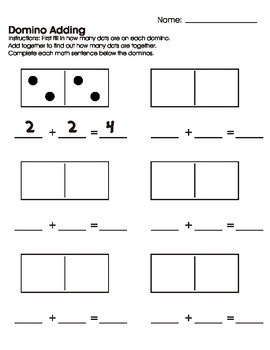 domino adding worksheetprintable by mary heishman  tpt