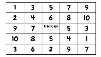 Domino Addition Bingo Center 1-10