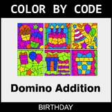 Domino Addition - Color by Code / Coloring Pages - Birthday