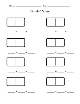 Domino Addition and Subtraction SPANISH