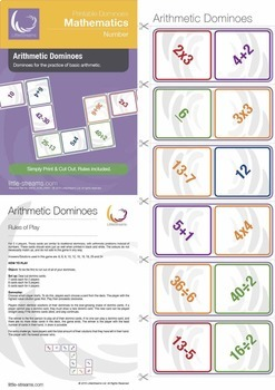 Domino Bundle 1 | 5 Domino Games for Basic Math - Fractions, Shapes, Area, etc.