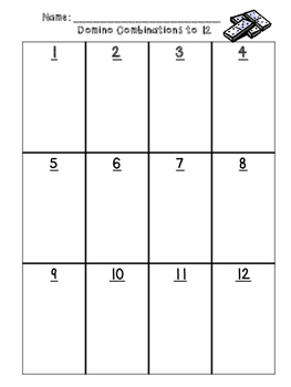 Domino Combinations-Practice within 6 or within 12