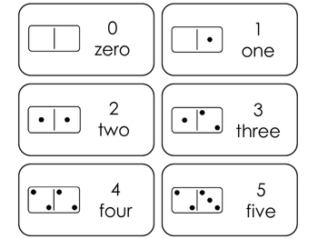 Domino Counting printable Picture Word Flashcards. Math flashcards.