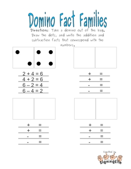 Domino Fact Families--Addition & Subtraction