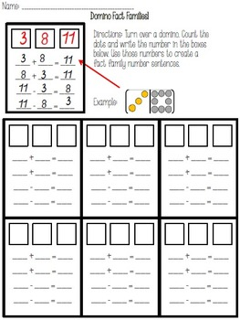 Domino Fact Families-Printable 1-15 Dominoes Included!
