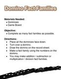 Domino Fact Family File Folder Game