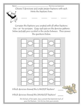 Domino Fraction Comparison Activity/Center