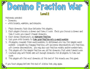 Domino Fractions Math Station FREEBIE