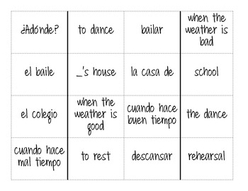 Domino Game - Activities and Weather Vocabulary ¡Exprésate! Level 1 Ch 3.2