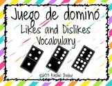 Domino Game - Spanish Likes and Dislikes Vocabulary
