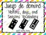 Domino Game - Spanish Months, Days, and Seasons Vocabulary