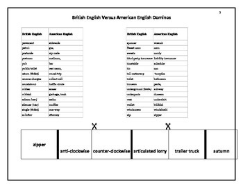 Domino Game, Vocabulary, British vs American English.