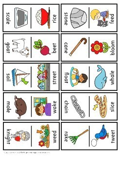 Domino Long Vowel Sound Word Family Cards
