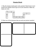 Domino Match Game and Recording Sheet - Short A and O Word