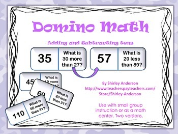 Domino Math- Addition and Subtraction with tens