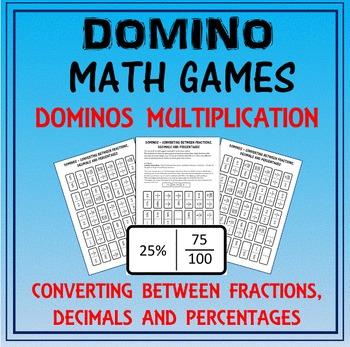 Domino Math: Converting Fractions-Decimals-Percentages & Domino Multiplication