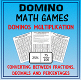 Domino Math: Converting Fractions-Decimals-Percentages & Domino Multiplication