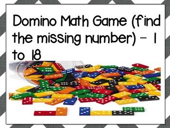 Domino Math Game (1-18)