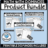 Domino Math Games Decimals, Fractions, and Multiplication Bundle