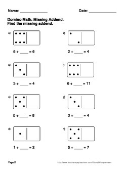 Domino Math Worksheets: Missing Addend