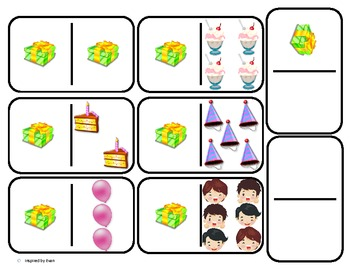 Domino Math with Birthday Theme/Matching/One to One Corres