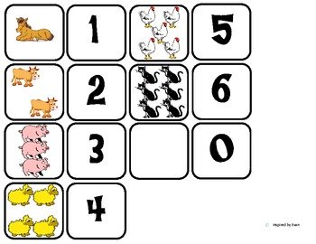 Domino Math with Farm Animal Theme/Matching/One to One Correspondence for Autism