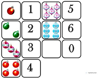 """Domino Math with """"Ornaments"""" Theme/One to One Correspondence for Autism"""