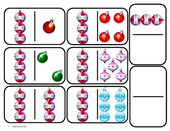 "Domino Math with ""Ornaments"" Theme/One to One Corresponden"