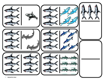 Domino Math with Sharks Theme/Matching/One to One Correspondence for Autism