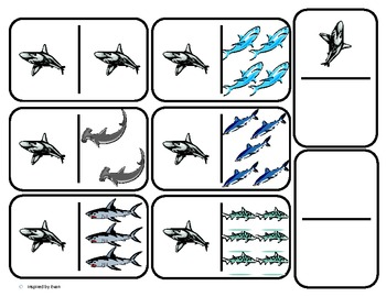 Domino Math with Sharks Theme/Matching/One to One Correspo