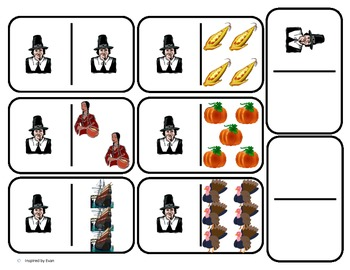"Domino Math with ""Thanksgiving"" theme/One to One Corresppo"