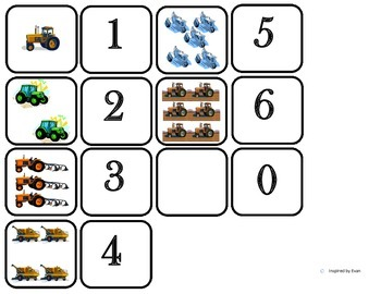Domino Math with Tractor Theme/Matching/One to One Correspondence for Autism