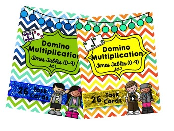 Domino Multiplication Bundle- Times Tables (0-9) Set 1 and Set 2