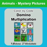 Domino Multiplication - Color By Code | Math Mystery Picture - Animals
