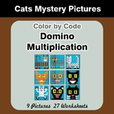 Domino Multiplication - Color By Code | Math Mystery Picture - Cats