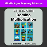 Domino Multiplication - Color By Code | Math Mystery Picture - Middle Ages