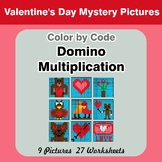 Domino Multiplication - Color By Code   Math Mystery Picture - Valentine's Day