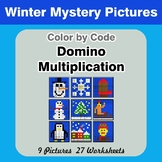 Domino Multiplication - Color By Code | Math Mystery Pictures - Winter