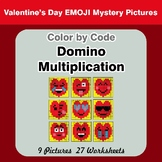 Domino Multiplication - Color By Code - Valentine's Day Math Mystery Pictures
