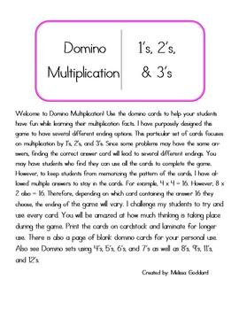 Domino Multiplication by 1's, 2's, and 3's